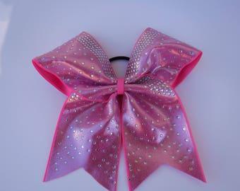 Pink Rhinestone Cheer Bow