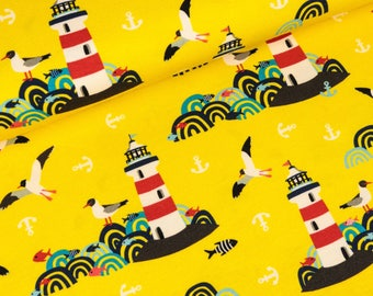 Cotton Jersey lighthouse island yellow by Purple lotta (16,50 EUR / meter)