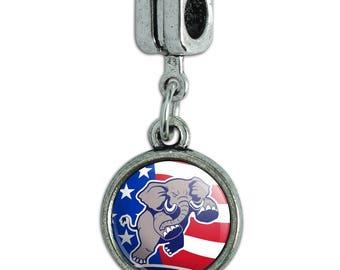 Angry Republican Elephant Politics GOP American Flag Italian European Style Bracelet Charm Bead