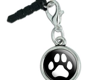 Paw Print Dog Cat White on Black Mobile Cell Phone Headphone Jack Anti-Dust Charm fits iPhone iPod Galaxy