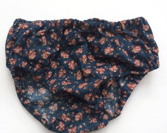 Navy Vintage Floral Baby Bloomers Diaper Cover