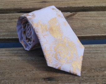 Lavender and Gold Floral Necktie, Flower Necktie, Purple Necktie, Gold Foil