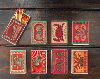 set of 8 MATCHBOX of chinese vintage style printing old matches match holder