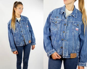 Oversize Denim Jacket / Oversize Jean Jacket / Vintage Denim Jacket / 80s Denim Jacket / Vintage Jean Jacket /  Grunge Jacket / Denim