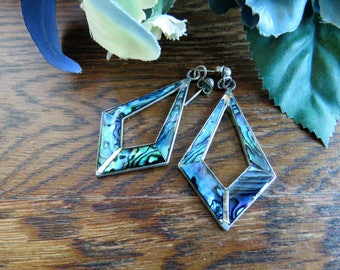 Vintage abalone shell and silver earrings