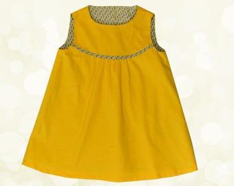 Mustard yellow corduroy trapeze dress size 4-5 years lined