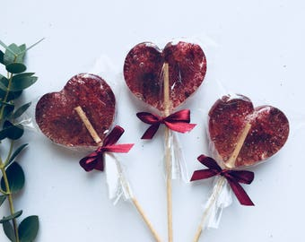 Burgundy Wedding foodie gift, set of 3 natural cherry sweet lollipop, unique gift for Wedding guests, house party favor, Valentine's gift