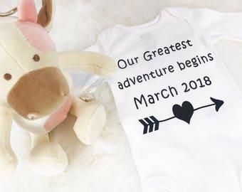 Pregnancy announcement Onesie®, Pregnancy picture, Pregnancy reveal to family, for couple, Pregnancy bodysuit, Pregnancy funny onesie®