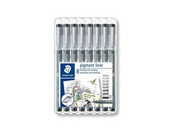 Staedtler Pigment Liner Fineliner 8 Pen Set 0.05mm - 2.0mm Nib | 308SB8 | Art Craft Drawing Sketching Writing Doodle |