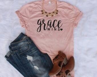 Grace Wins|Christian Shirt|Christian shirt for Women|Women's Jesus Shirt|Christian Shirts|Ladies faith shirt