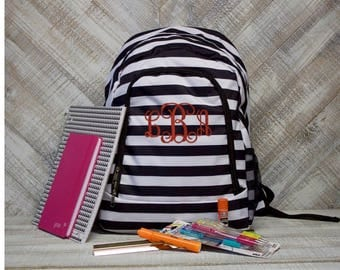 Personalized Black and White Stripe Backpack