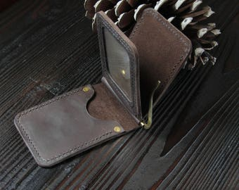 leather wallet,Mens Leather Wallet ,Leather Wallet dark brown ,leather Money Clip wallet,mens gift,gifts for him, gift for men, wedding gift