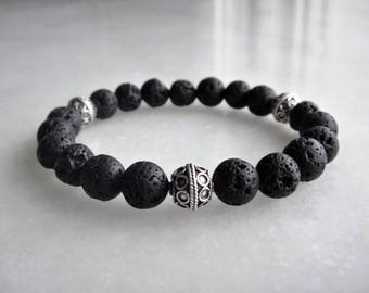 Lava stone bracelet with 925 sterling silver bead for men / Mens lava bracelet silver stone bracelet men gift beaded stone bracelet gift