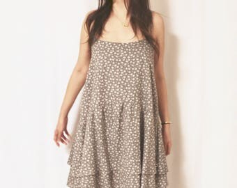 Cross-back Spaghetti Dress with Double Layer Ruffle Skirt in Grey Floral in 100% Cotton, Handmade, Casual Dress [1025-2]