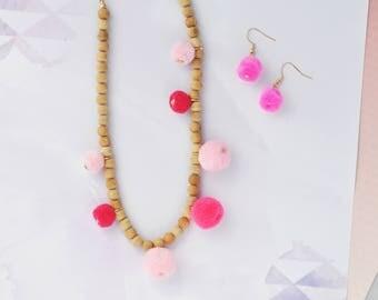 PINK Pom Pom Necklace