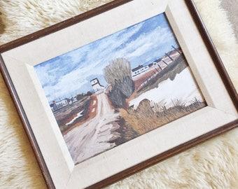 Vintage Farm Landscape Framed Painting // Golden Sea