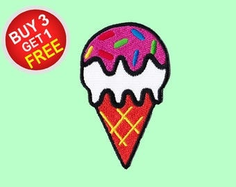 Ice Cream Patches Iron On Embroidered Patches Iron On Embroidered Applique