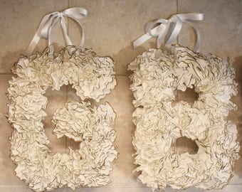 frilly pop out unique hanging letter- customized coffee filter adorable ribbon hanging letters