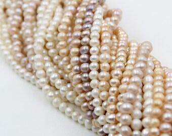 5 - 6 mm pink / purple / white round freshwater pearls, round pearl, full strand, round pearl strands, pearl wholesale