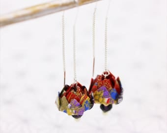 Origami Japanese Violet and red lotus flower earrings