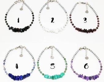 Talisman bracelet delicate Onyx - Howlite - Garnet - Lapis lazuli - Amazonite - Amethyst jewelry woman - Aiko Creation