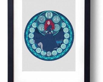 Merida Brave Stained Glass Disney princess (Cross stitch embroidery pattern pdf)