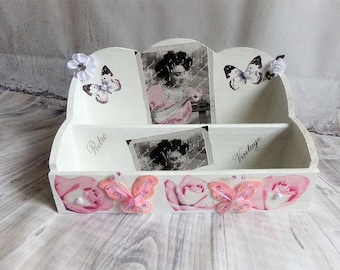 "Shabby chic ""in pink and white"" desk Organizer"