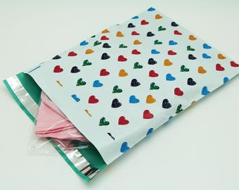 10 - 6x9 Colorful Hearts Designer Poly Mailers Envelopes Boutique Custom Bags self seal