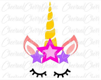 Unicorn SVG Unicorn face svg Stars svg Unicorn Birthday svg Unicorn Party Svg Unicorn horn svg Unicorn DXF Unicorn Silhouette Svg for cricut
