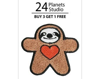 Sloth Doll Heart Iron on Patch by 24PlanetsStudio