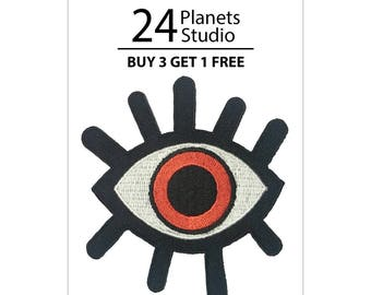 Red Lucky Eye Iron on Patch by 24PlanetsStudio