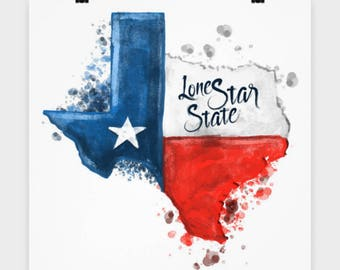 """TEXAS WATERCOLOR POSTER! 16"""" x 16"""" Poster Lone Star State Texas Strong Native Texan Wall Art Bedroom Office Decor College Dorm Decoration"""