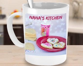 NANA'S KITCHEN Pink Sugar Cookies Coffee Mug! Lovely Plate of Nana's Cookies Family Food Fun Coffee Cup! Hostess Gift Mug