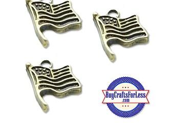 USA Flag Charms, American Flag, Bronze, 6 pcs +FREE Shipping & Discounts*