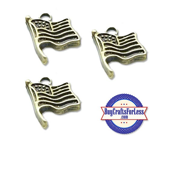 USA Flag Charms, American Flag, Bronze, 6 pcs +FREE Shipping & Discounts*
