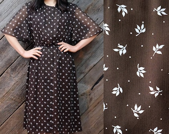 Brown botanical dress with sweet butterfly sleeves / Japanese Vintage / 60s / 70s / Retro / Secretary dress / Holiday / Sheer top / Size S-M