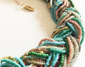 Pastel beaded Plaited Twist Statment Necklace