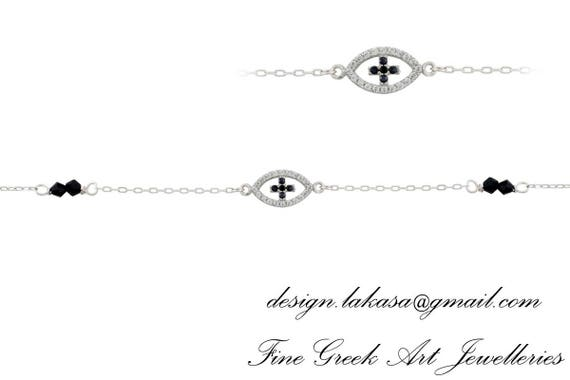 Chain Bracelet Eye Cross Sterling Silver white Goldplated Jewelry Rhinestones Crystals Best idea Gift woman birthday baptism Baby shower day