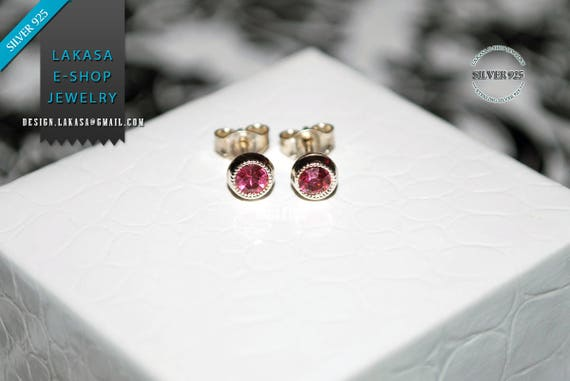 Pink Zirconia Crystal Studs Earrings Sterling Silver 925 Jewelry lovely gift for her Moda Girls Women Collection Minimalist and Beauty