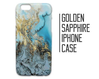 Golden Sapphire Phone Case for iPhone 7 Plus 6 6s 5 5s 5c SE + Samsung S6 S7 Blue and Gold