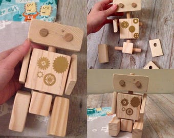 CONNECTABLE Wooden ROBOT, Waldorf wooden toy, EDUCATIONAL toy, poseable wooden robot, montessori wooden toy, wooden toy gift, eco-friendly