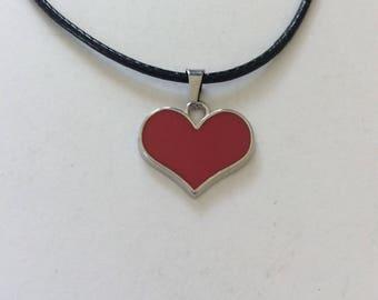 Red heart necklace / heart necklace / heart jewellery / heart gift