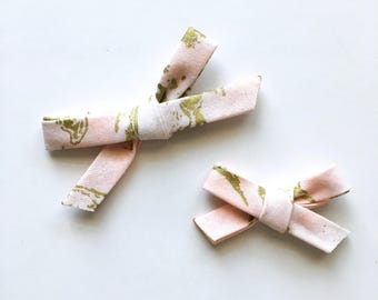 Hand tied bow, blush pink and gold, tie dye, pigtails