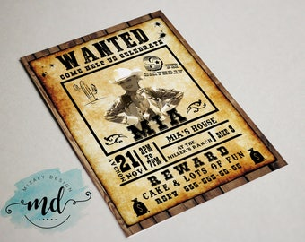 Wanted Invitation Printable with photo