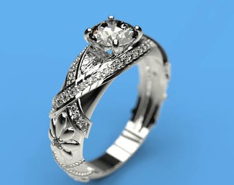 0.8 cts Moissanite Engagement Ring with 14 Natural Diamond Accent Stones 14K White Gold  Ring