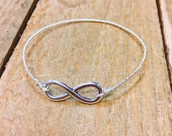 Infinity Bracelet, Silver Plated Wire