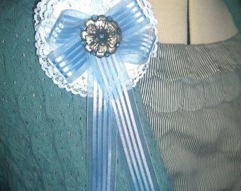 Medallion Broach Ribbon Lace Metal Flower Button Blue White Silver Pinback pin back accessory shawl sweater rhinestones shawl badge award