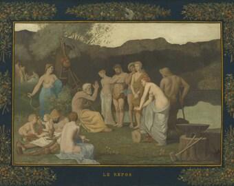 Pierre Puvis de Chavannes : Rest (1863) Canvas Gallery Wrapped Wall Art Print