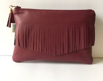 Smooth lamb leather and soft Burgundy makeup/pouch clutch
