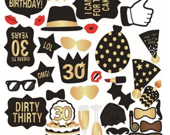 40PCS 30th Birthday Photo Booth Props, Party Props, Photo Booth Props, Party Supplies, Party Decor, Party, Photo props, Baby Shower
